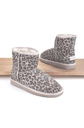 Cool Moon Women Ugg Boots From Genuine Sheepskin Fur Beige