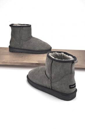 Cool Moon Women Ugg Boots From Genuine Sheepskin Fur Gray