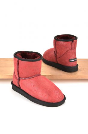 Cool Moon Women Ugg Boots From Genuine Sheepskin Fur Red