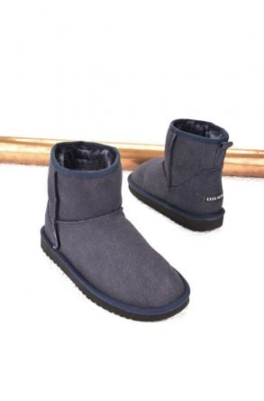 Cool Moon Women Ugg Boots From Genuine Sheepskin Fur Navy blue
