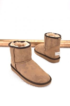 Cool Moon Women Ugg Boots From Genuine Sheepskin Fur Sand-colored
