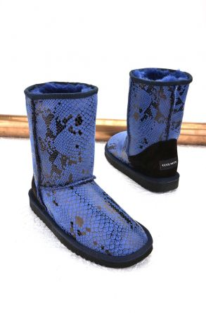 Cool Moon Women Ugg Boots From Genuine Sheepskin Fur Blue