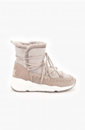 Pegia Laced Women Boots From Genuine Suede And Sheepskin Beige