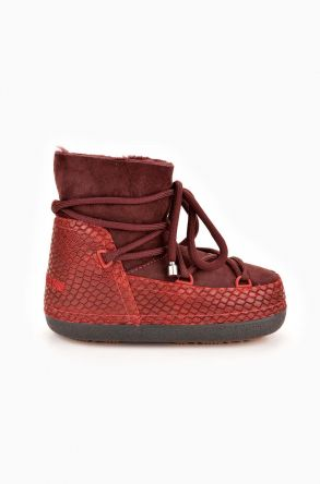 Cool Moon Moonboots From Genuine Sheepskin Claret red