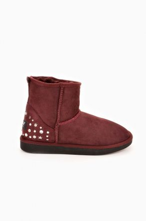 Pegia Women Ugg Boots From Genuine Suede And Sheepskin Fur Decorated With Stones Claret red