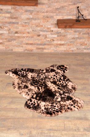 Erdogan Deri Decorative Sheepskin Rug Decorated With Pattern Natural