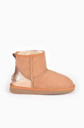 Pegia Women Ugg Boots From Genuine Suede And Sheepskin Fur Decorated With Leather Ginger