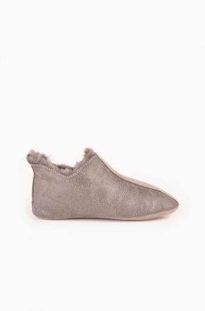 Pegia Hakiki Kürk Çocuk Ev Ayakkabısı Gray