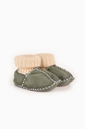 Pegia Kids Booties From Genuine Fur Green