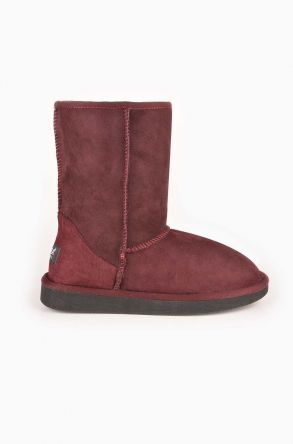 Pegia Classic Women Ugg Boots From Genuine Suede And Sheepskin Fur Claret red