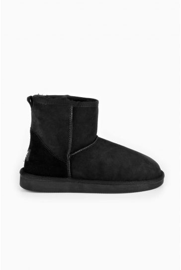 Pegia Short Women Ugg Style Boots From Genuine Suede And Sheepskin Fur Black