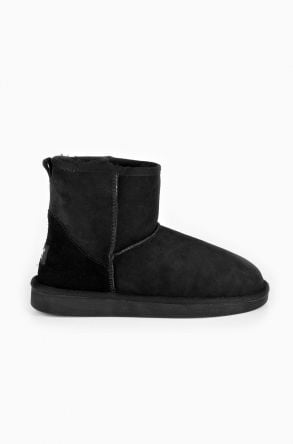 Pegia Short Women Ugg Boots From Genuine Suede And Sheepskin Fur Black