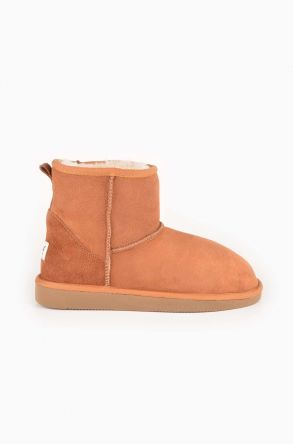 Pegia Short Women Ugg Boots From Genuine Suede And Sheepskin Fur Ginger