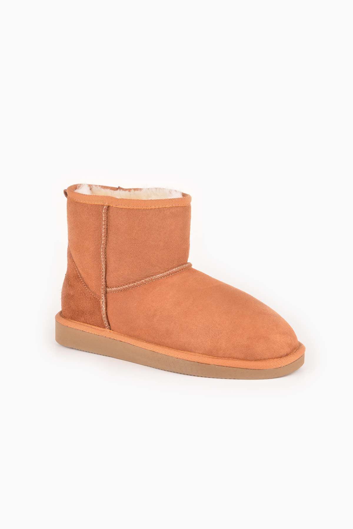 Pegia Short Women Ugg Style Boots From Genuine Suede And Sheepskin Fur Ginger