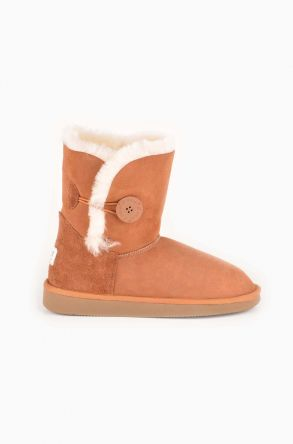 Pegia Women Ugg Boots From Genuine Suede And Sheepskin Fur Decorated With Snap Ginger