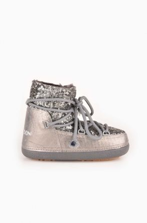 Cool Moon Women Snowboots From Genuine Fur With Sequins Gray