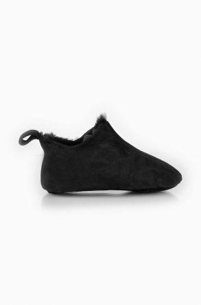Pegia Hakiki Kürk Çocuk Ev Ayakkabısı Black