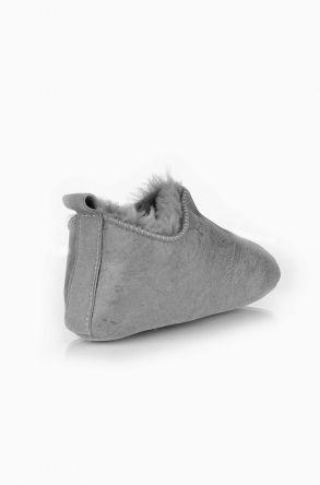 Pegia Hakiki Kürk Çocuk Ev Ayakkabısı Light Gray