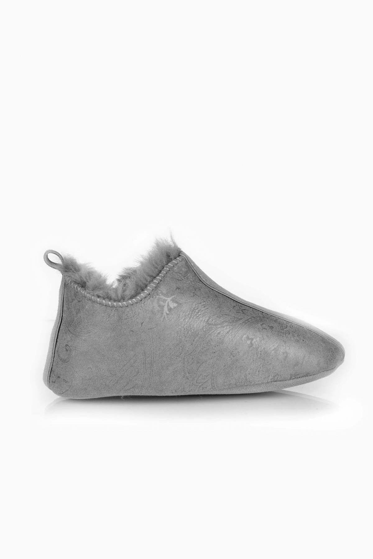 Pegia Hakiki Kürklü Çocuk Ev Ayakkabısı 121297 Açık Gri