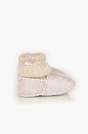 Pegia Hakiki Kürklü Çoraplı Bebek Patiği Açık Bej