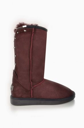 Pegia Zipped Women Ugg Boots From Genuine Suede And Sheepskin Fur Claret red