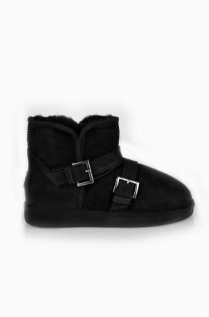 Pegia Women Ugg Style Boots From Genuine Suede And Sheepskin Fur Decorated With Belt Black