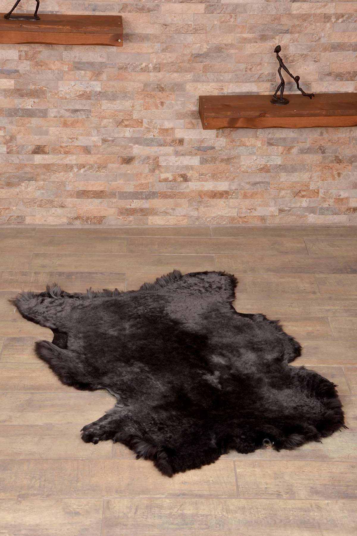 Erdogan Deri Декоративный Коврик Из Натуральной Овчины Черный