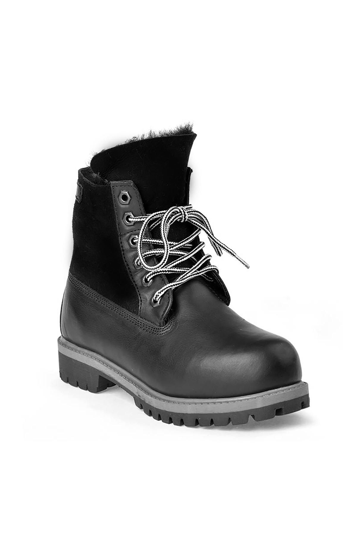 Pegia Laced Women Boots From Genuine Fur And Leather Black