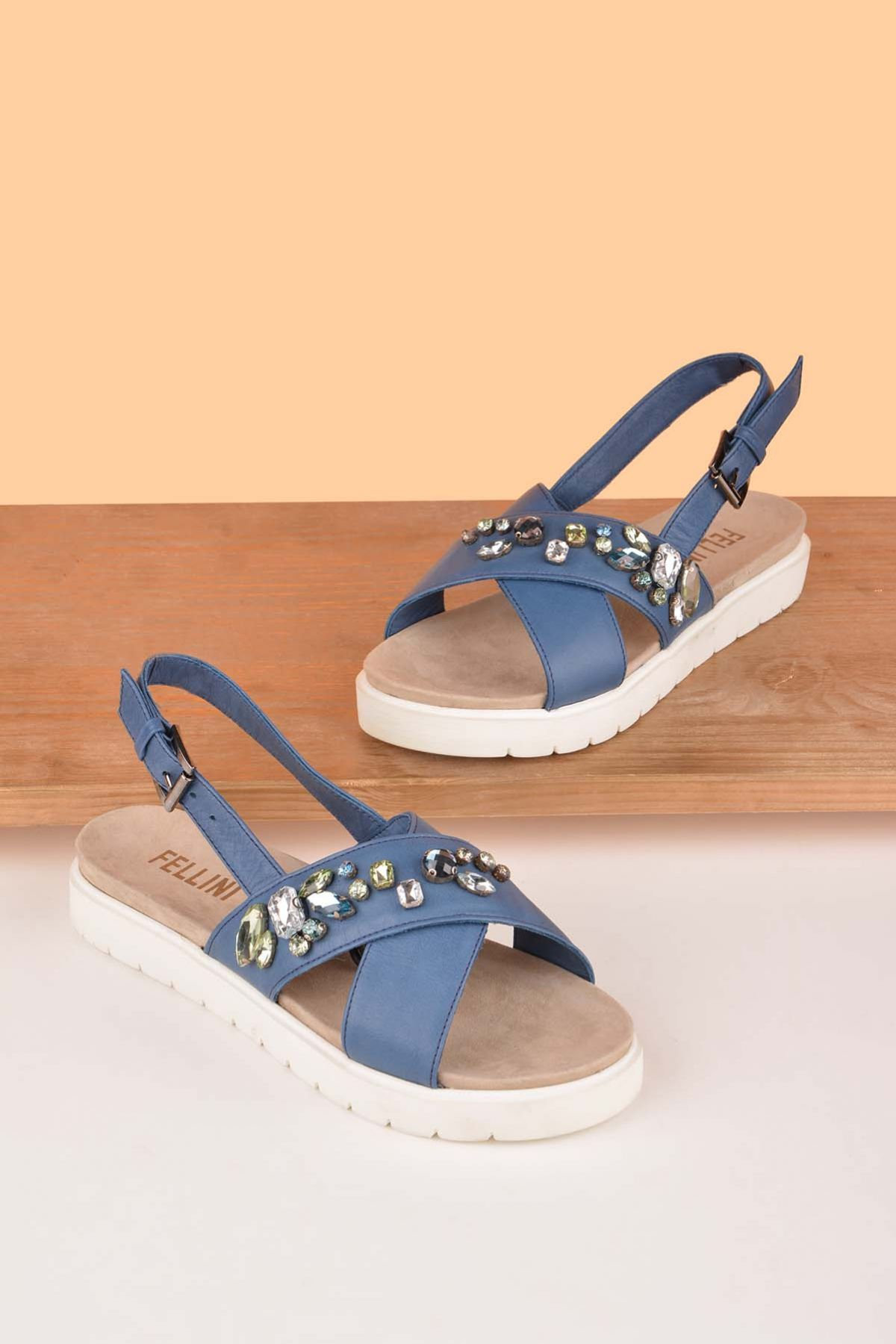 Fln Sandals From Genuine Leather Decorated With Stones Blue