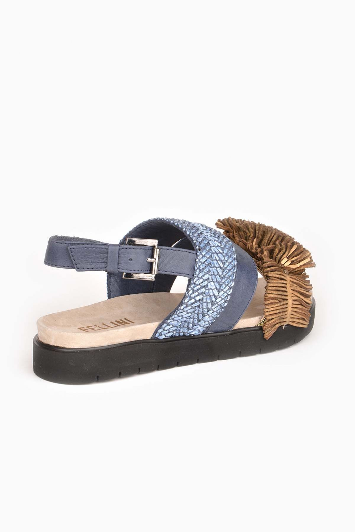 Fln Women Sandals From Genuine Leather Blue