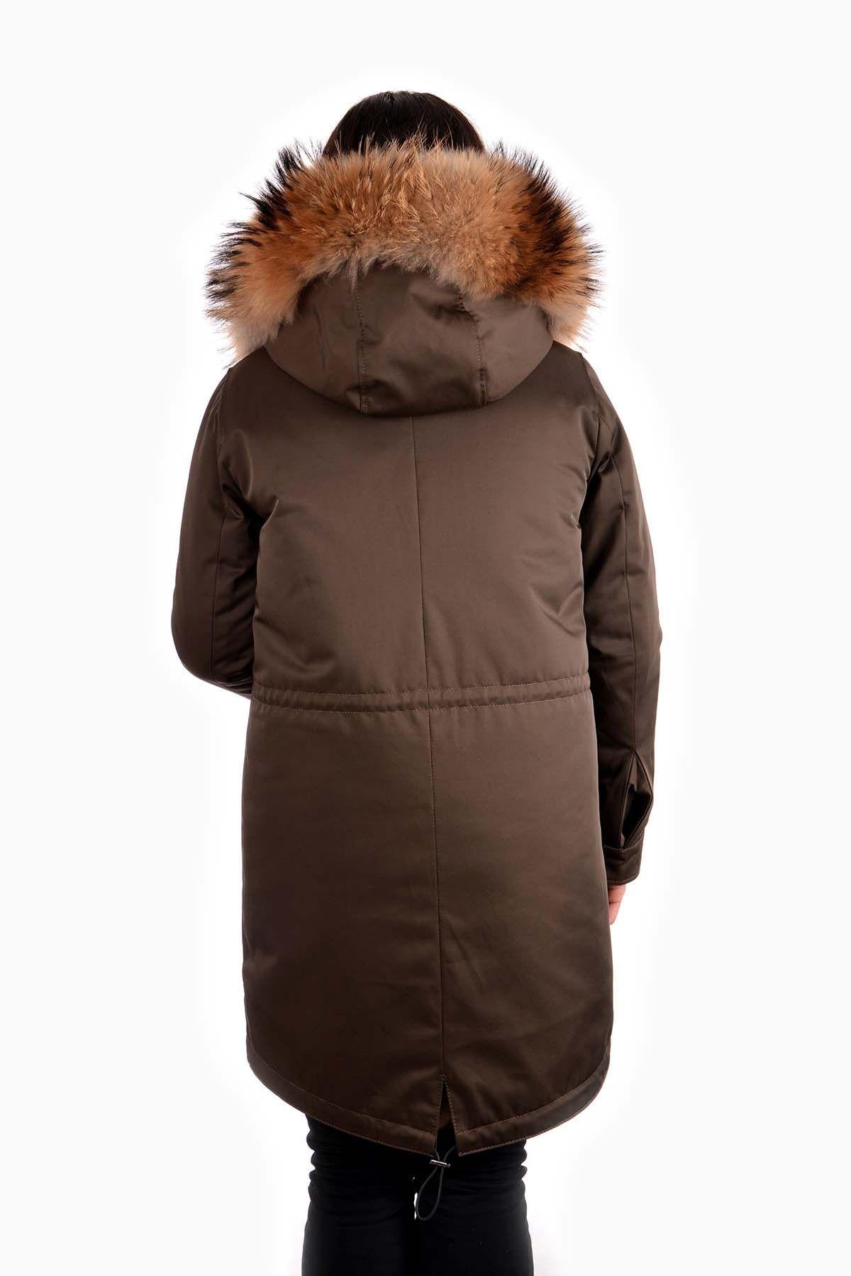 Pegia Women Jacket From Genuine Fur With Detachable Vest Beige