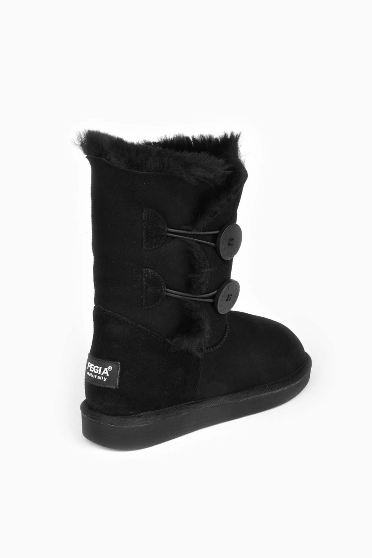 Pegia Women Ugg Style Boots From Genuine Suede And Sheepskin Fur Decorated With Snaps Black