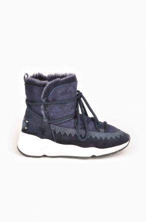 Pegia Laced Women Boots From Genuine Suede And Sheepskin Navy blue