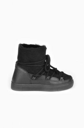 Cool Moon Women Ugg Boots From Genuine Sheepskin Fur Black