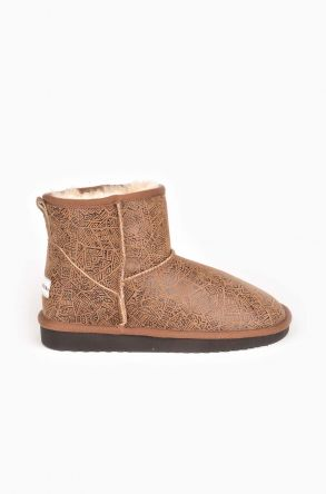 Cool Moon Patterned Women Ugg Style Boots From Genuine Leather And Sheepskin Fur Sand-colored