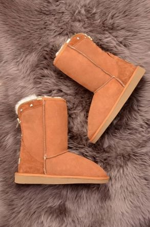 Pegia Zipped Women Ugg Boots From Genuine Suede And Sheepskin Fur Ginger