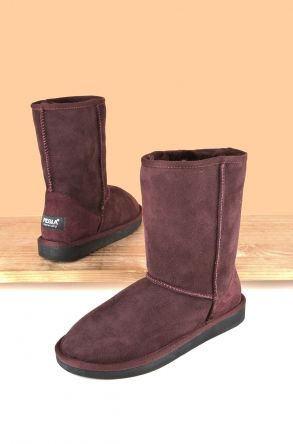 Pegia Classic Women Ugg Style Boots From Genuine Suede And Sheepskin Fur Claret red