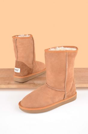Pegia Classic Women Ugg Style Boots From Genuine Suede And Sheepskin Fur Ginger