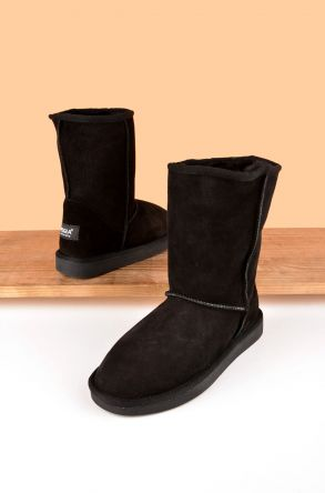 Pegia Classic Women Ugg Style Boots From Genuine Suede And Sheepskin Fur Black