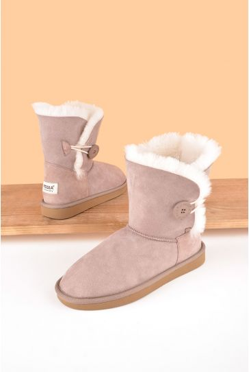 Pegia Women Ugg Style Boots From Genuine Suede And Sheepskin Fur Decorated With Snap Powdery