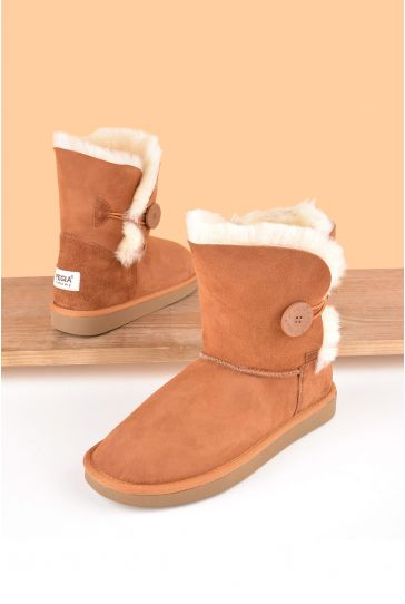 Pegia Women Ugg Style Boots From Genuine Suede And Sheepskin Fur Decorated With Snap Ginger