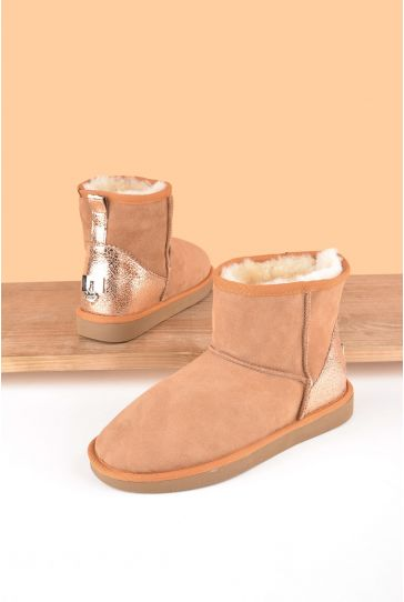 Pegia Women Ugg Style Boots From Genuine Suede And Sheepskin Fur Decorated With Leather Ginger