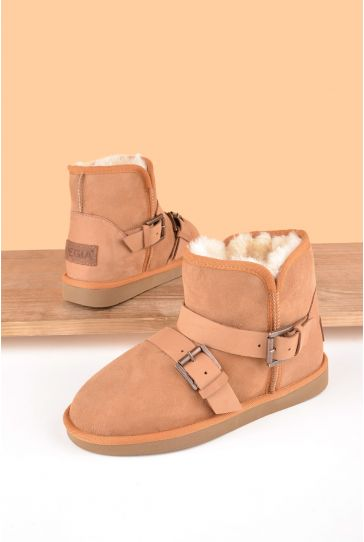 Pegia Women Ugg Style Boots From Genuine Suede And Sheepskin Fur Decorated With Belt Ginger