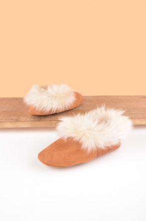 Pegia Hakiki Süet Dışı Kürk Bayan Ev Ayakkabısı 191095 Taba