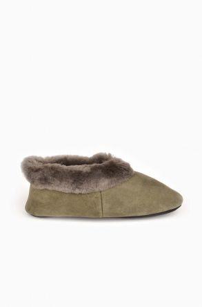 Pegia Женская Домашняя Обувь Из Натурального Овечьего Меха Хаки