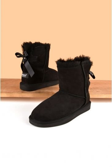Pegia Women Ugg Style Boots From Genuine Suede And Sheepskin Fur Decorated With Bow Black