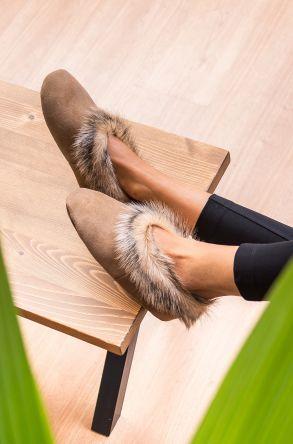 Pegia Женская Домашняя Обувь Из Натуральной Кожи И Меха С Меховой Верхушкой Песочный