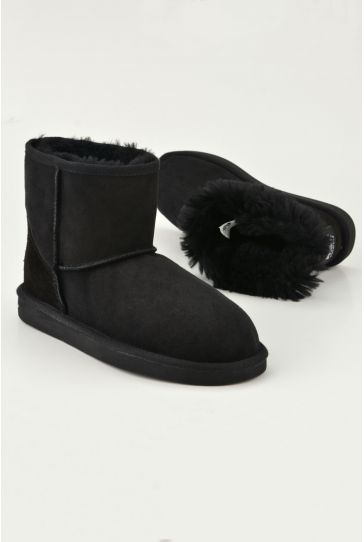 Pegia Short Women Ugg Style Boots From Genuine Suede And Sheepskin Fur 191021 Black