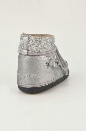 Cool Moon Hakiki Deri İçi Kürklü Bayan Kar Botu 251004 Gümüş
