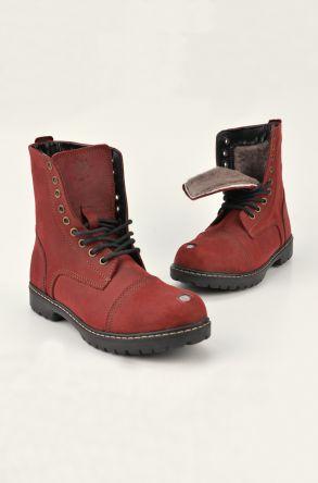 Pegia Шнурованные Женские Ботинки Из Натурального Меха И Нубука Бордовый